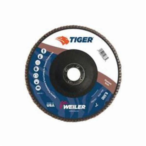Tiger® 50683 Premium Coated Abrasive Flap Disc, 7 in Dia, 7/8 in Center Hole, 40 Grit, Coarse Grade, Aluminum Oxide Abrasive, Type 27/Flat Disc