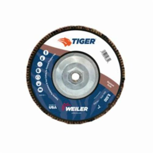 Tiger® 50632 Premium Coated Abrasive Flap Disc, 7 in Dia, 36 Grit, Very Coarse Grade, Aluminum Oxide Abrasive, Type 29/Angled Disc