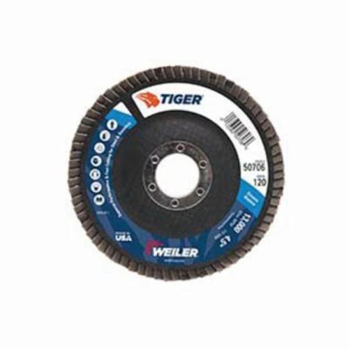 Tiger® 50706 Premium Coated Abrasive Flap Disc, 4-1/2 in Dia, 7/8 in Center Hole, 120 Grit, Fine Grade, Zirconia Alumina Abrasive, Type 27/Flat Disc