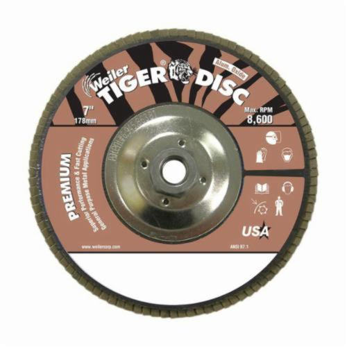 Tiger® 50734 Premium Coated Abrasive Flap Disc, 7 in Dia, 60 Grit, Medium Grade, Aluminum Oxide Abrasive, Type 27/Flat Disc