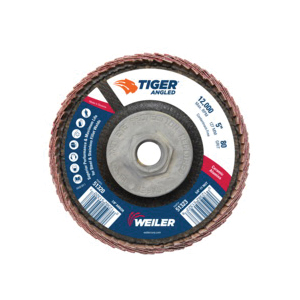 Tiger® 51323 Coated Abrasive Flap Disc, 5 in Dia, 80 Grit, Medium Grade, Ceramic Alumina Abrasive, Type 27/Angled Disc