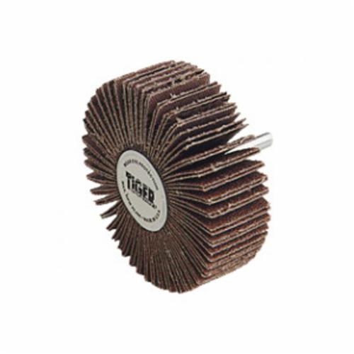 Tiger® 52623 Stem Mount Coated Abrasive Flap Wheel, 3 in Dia Wheel, 1 in W Face, 1/4-20 Dia Shank, 80 Grit, Medium Grade, Aluminum Oxide Abrasive