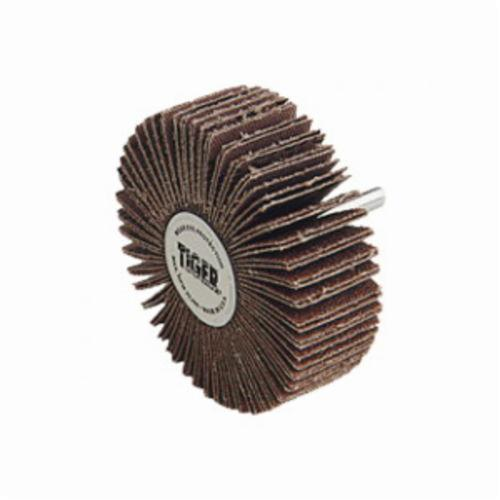 Tiger® 52005 Coated Abrasive Flap Wheel, 1 in Dia, 1 in W Face, 1/4 in Dia Shank, 120 Grit, Fine Grade, Aluminum Oxide Abrasive