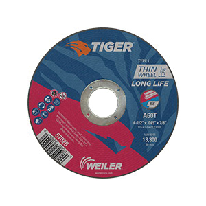 Tiger® 57020 Flat Long Life Performance Line Reinforced Small Thin Cut-Off Wheel, 4-1/2 in Dia x 0.045 in THK, 7/8 in Center Hole, A60T Grit, Premium Aluminum Oxide Abrasive