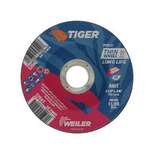 Tiger® 57041 Long Life Performance Line Thin Depressed Center Cutting Wheel, 4-1/2 in Dia x 0.045 in THK, 7/8 in Center Hole, 60 Grit, Premium Aluminum Oxide Abrasive
