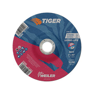 Tiger® 57045 Long Life Performance Line Thin Depressed Center Cutting Wheel, 6 in Dia x 0.045 in THK, 7/8 in Center Hole, 60 Grit, Premium Aluminum Oxide Abrasive