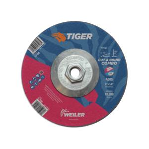 Tiger® 57108 Combination Long Life Performance Line Depressed Center Wheel, 6 in Dia x 1/8 in THK, 30 Grit, Premium Aluminum Oxide Abrasive