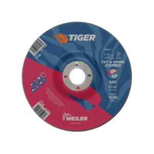 Tiger® 57109 Combination Long Life Performance Line Depressed Center Wheel, 6 in Dia x 1/8 in THK, 7/8 in Center Hole, 30 Grit, Premium Aluminum Oxide Abrasive