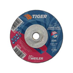 Tiger® 57120 Performance Line Depressed Center Wheel, 4-1/2 in Dia x 1/4 in THK, 24 Grit, Premium Aluminum Oxide Abrasive