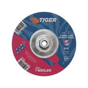 Tiger® 57124 Performance Line Depressed Center Wheel, 7 in Dia x 1/4 in THK, 24 Grit, Premium Aluminum Oxide Abrasive