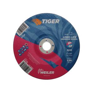 Tiger® 57135 Performance Line Depressed Center Wheel, 7 in Dia x 1/4 in THK, 7/8 in Center Hole, 24 Grit, Premium Aluminum Oxide Abrasive