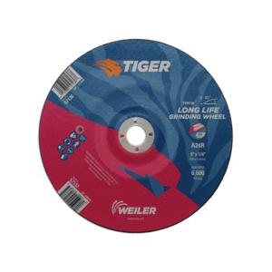 Tiger® 57137 Performance Line Depressed Center Wheel, 9 in Dia x 1/4 in THK, 7/8 in Center Hole, 24 Grit, Premium Aluminum Oxide Abrasive