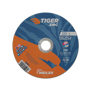 Tiger® 58002 Fast Cut and Long Life Flat Performance Line Small Thin Cut-Off Wheel, 6 in Dia x 0.045 in THK, 7/8 in Center Hole, Z60T Grit, Zirconia Alumina Abrasive