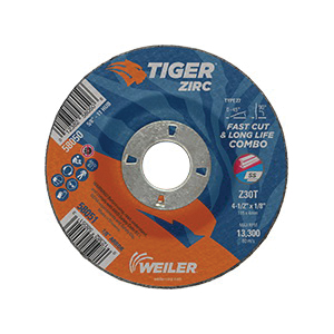 Tiger® 58051 Combination Fast and Long Life Performance Line Depressed Center Wheel, 4-1/2 in Dia x 1/8 in THK, 7/8 in Center Hole, 30 Grit, Zirconia Alumina Abrasive