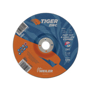 Tiger® 58056 Combination Fast and Long Life Performance Line Depressed Center Wheel, 7 in Dia x 1/8 in THK, 7/8 in Center Hole, 30 Grit, Zirconia Alumina Abrasive