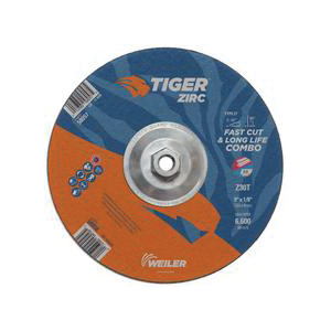 Tiger® 58057 Combination Fast and Long Life Performance Line Depressed Center Combo Wheel, 9 in Dia x 1/8 in THK, 30 Grit, Zirconia Alumina Abrasive