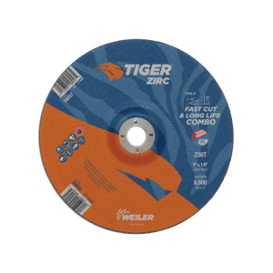 Tiger® 58058 Combination Fast and Long Life Performance Line Depressed Center Combo Wheel, 9 in Dia x 1/8 in THK, 7/8 in Center Hole, 30 Grit, Zirconia Alumina Abrasive
