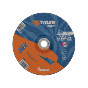 Tiger® 58077 Performance Line Depressed Center Wheel, 9 in Dia x 1/4 in THK, 7/8 in Center Hole, 24 Grit, Zirconia Alumina Abrasive