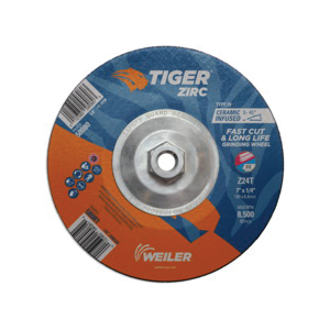 Tiger® 58080 Performance Line Depressed Center Grinding Wheel, 7 in Dia x 1/4 in THK, 24 Grit, Zirconia Alumina Abrasive