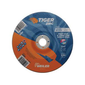 Tiger® 58081 Performance Line Depressed Center Grinding Wheel, 7 in Dia x 1/4 in THK, 7/8 in Center Hole, 24 Grit, Zirconia Alumina Abrasive