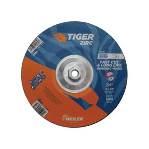 Tiger® 58082 Performance Line Depressed Center Wheel, 9 in Dia x 1/4 in THK, 24 Grit, Zirconia Alumina Abrasive