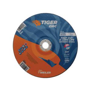 Tiger® 58083 Performance Line Depressed Center Wheel, 9 in Dia x 1/4 in THK, 7/8 in Center Hole, 24 Grit, Zirconia Alumina Abrasive