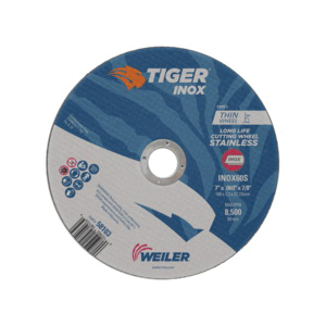 Tiger® INOX 58103 Flat Long Life Performance Line Thin Cut-Off Wheel, 7 in Dia x 0.06 in THK, 7/8 in Center Hole, 60S Grit, White Aluminum Oxide Abrasive
