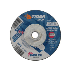 Tiger® INOX 58109 Contaminant-Free Long Life Performance Line Thin Depressed Center Cutting Wheel, 4-1/2 in Dia x 0.045 in THK, 60 Grit, White Aluminum Oxide Abrasive