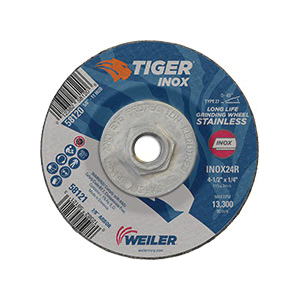 Tiger® INOX 58120 Contaminant-Free Performance Line Depressed Center Grinding Wheel, 4-1/2 in Dia x 1/4 in THK, 24 Grit, White Aluminum Oxide Abrasive