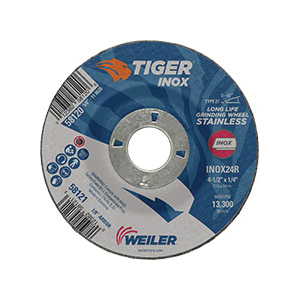 Tiger® INOX 58121 Contaminant-Free Performance Line Depressed Center Wheel, 4-1/2 in Dia x 1/4 in THK, 7/8 in Center Hole, 24 Grit, White Aluminum Oxide Abrasive