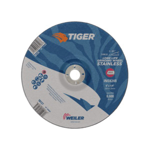 Tiger® INOX 58127 Contaminant-Free Performance Line Depressed Center Wheel, 9 in Dia x 1/4 in THK, 7/8 in Center Hole, 24 Grit, White Aluminum Oxide Abrasive