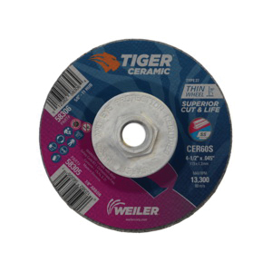 Tiger® 58306 Performance Line Superior Life and Cut Depressed Center Cutting Wheel, 4-1/2 in Dia x 0.045 in THK, 60 Grit, Ceramic Alumina Abrasive