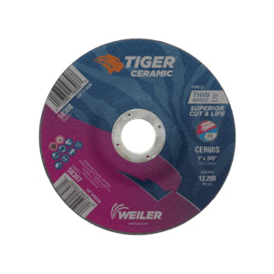 Tiger® 58307 Performance Line Superior Life and Cut Depressed Center Cutting Wheel, 5 in Dia x 0.045 in THK, 7/8 in Center Hole, 60 Grit, Ceramic Alumina Abrasive