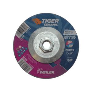 Tiger® 58308 Performance Line Superior Life and Cut Depressed Center Cutting Wheel, 5 in Dia x 0.045 in THK, 60 Grit, Ceramic Alumina Abrasive