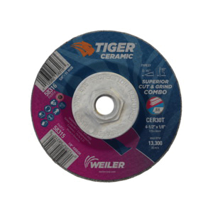 Tiger® 58316 Combination Long Life Performance Line Superior Life and Cut Depressed Center Wheel, 4-1/2 in Dia x 1/8 in THK, 30 Grit, Ceramic Alumina Abrasive
