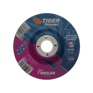 Tiger® 58317 Combination Long Life Performance Line Superior Life and Cut Depressed Center Combo Wheel, 5 in Dia x 1/8 in THK, 7/8 in Center Hole, 30 Grit, Ceramic Alumina Abrasive
