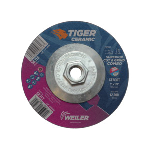 Tiger® 58318 Combination Long Life Performance Line Superior Life and Cut Depressed Center Wheel, 5 in Dia x 1/8 in THK, 30 Grit, Ceramic Alumina Abrasive