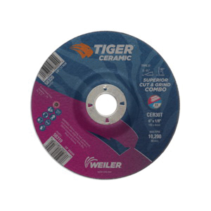 Tiger® 58319 Combination Long Life Performance Line Superior Life and Cut Depressed Center Wheel, 6 in Dia x 1/8 in THK, 7/8 in Center Hole, 30 Grit, Ceramic Alumina Abrasive