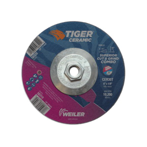Tiger® 58320 Combination Long Life Performance Line Superior Life and Cut Depressed Center Combo Wheel, 6 in Dia x 1/8 in THK, 30 Grit, Ceramic Alumina Abrasive