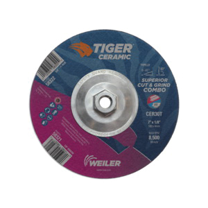 Tiger® 58324 Combination Long Life Performance Line Superior Life and Cut Depressed Center Wheel, 9 in Dia x 1/8 in THK, 30 Grit, Ceramic Alumina Abrasive