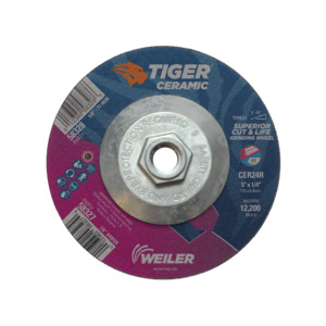 Tiger® 58328 Performance Line Superior Life and Cut Depressed Center Grinding Wheel, 5 in Dia x 1/4 in THK, 24 Grit, Ceramic Alumina Abrasive