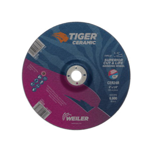Tiger® 58333 Performance Line Superior Life and Cut Depressed Center Wheel, 9 in Dia x 1/4 in THK, 7/8 in Center Hole, 24 Grit, Ceramic Alumina Abrasive