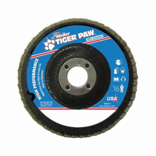 Tiger Paw™ 51101 High Performance Coated Abrasive Flap Disc, 4-1/2 in Dia, 7/8 in Center Hole, 36 Grit, Very Coarse Grade, Zirconia Alumina Abrasive, Type 27/Flat Disc