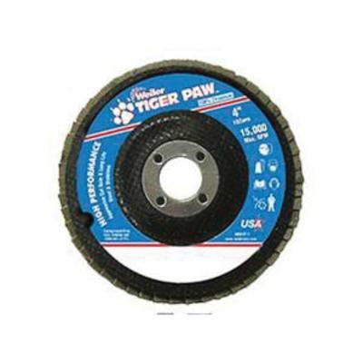 Tiger Paw™ 51102 High Performance Coated Abrasive Flap Disc, 4 in Dia, 5/8 in Center Hole, 60 Grit, Medium Grade, Zirconia Alumina Abrasive, Type 27/Flat Disc