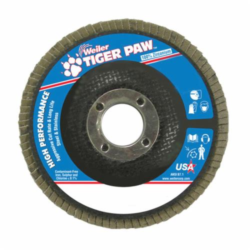 Tiger Paw™ 51109 High Performance Coated Abrasive Flap Disc, 4-1/2 in Dia, 7/8 in Center Hole, 60 Grit, Medium Grade, Zirconia Alumina Abrasive, Type 27/Flat Disc