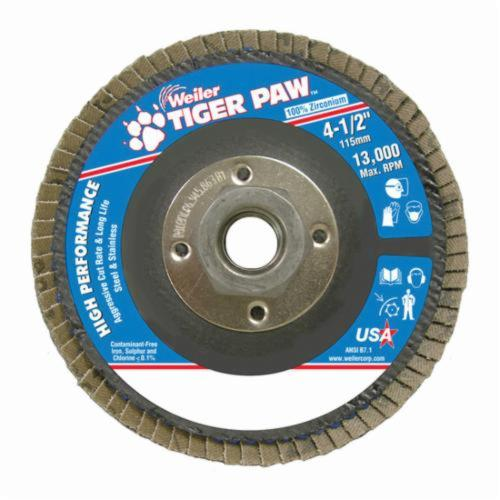 Tiger Paw™ 51112 High Performance Coated Abrasive Flap Disc, 4-1/2 in Dia, 36 Grit, Very Coarse Grade, Zirconia Alumina Abrasive, Type 27/Flat Disc