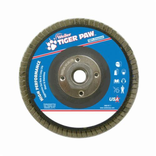Tiger Paw™ 51155 High Performance Coated Abrasive Flap Disc, 5 in Dia, 36 Grit, Very Coarse Grade, Zirconia Alumina Abrasive, Type 27/Flat Disc