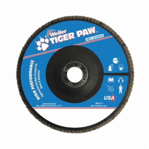 Tiger Paw™ 51150 High Performance Coated Abrasive Flap Disc, 7 in Dia, 7/8 in Center Hole, 60 Grit, Medium Grade, Zirconia Alumina Abrasive, Type 29/Angled Disc