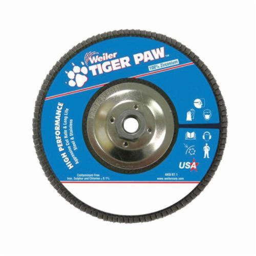Tiger Paw™ 51148 High Performance Coated Abrasive Flap Disc, 7 in Dia, 80 Grit, Medium Grade, Zirconia Alumina Abrasive, Type 29/Angled Disc