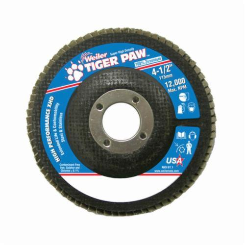 Tiger Paw™ 51163 Super High Density High Performance Coated Abrasive Flap Disc, 4-1/2 in Dia, 7/8 in Center Hole, 80 Grit, Medium Grade, Zirconia Alumina Abrasive, Type 27/Flat Disc